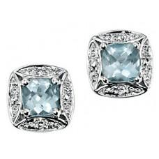Gecko - Aquamarine & Diamond Earrings