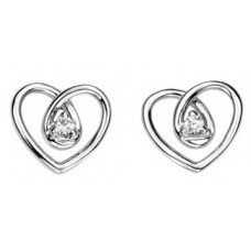 Gecko - Heart Shape White Gold Diamond Earrings