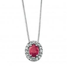 Gecko – Ruby & Diamond White Gold Pendant