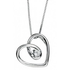 Gecko - Heart Shape White Gold Diamond Pendant