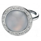 Fiorelli - Silver Chalcedony CZ Round Ring