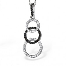 Real Effect - CZ Silver & Black Hoops Pendant