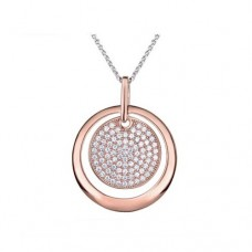 Real Effect - CZ Rose Gold Round Pendant